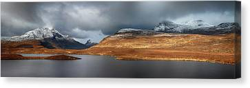 Canvas Print featuring the photograph Mountain Pano From Knockan Crag by Grant Glendinning