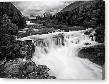 Mountain Paradise In Black And White Canvas Print by Mark Kiver