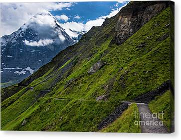 Mountain Path In The Swiss Alps Canvas Print by Gary Whitton
