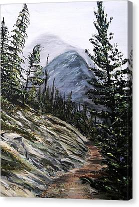 Canvas Print featuring the painting Mountain Pathway by Patricia L Davidson
