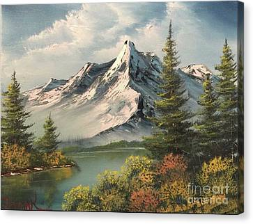 Mountain Reflections  Canvas Print by Paintings by Justin Wozniak
