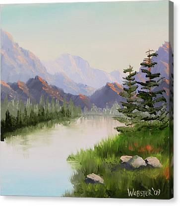 Mountain River Overture Landscape Oil Painting By Northern California Artist Mark Webster  Canvas Print