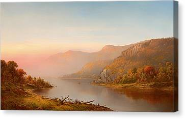 mountain river scene autumn of the Hudson Canvas Print by Mountain Dreams