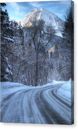 Mountain Road In Winter Canvas Print by Utah Images