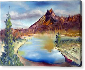 Mountain Scene With Lake Canvas Print by Miriam Besa