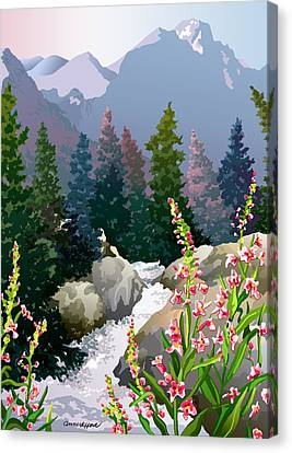 Canvas Print featuring the digital art Mountain Stream by Anne Gifford