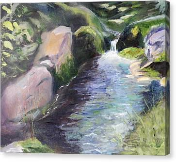 Canvas Print featuring the painting mountain Stream by Sherril Porter