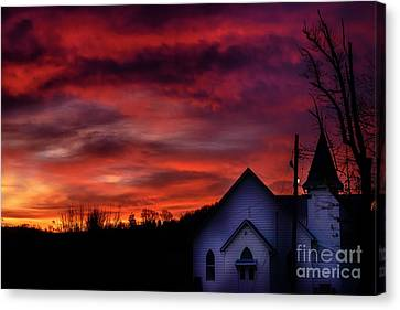 Canvas Print featuring the photograph Mountain Sunrise And Church by Thomas R Fletcher