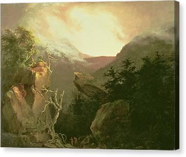 Sun Rays Canvas Print - Mountain Sunrise by Thomas Cole