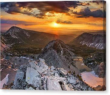 Sun Rays Canvas Print - Mountain Top Sunrise by Leland D Howard