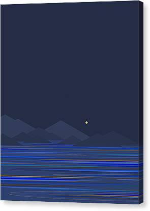 Sea Moon Full Moon Canvas Print - Mountain Tops II by Val Arie