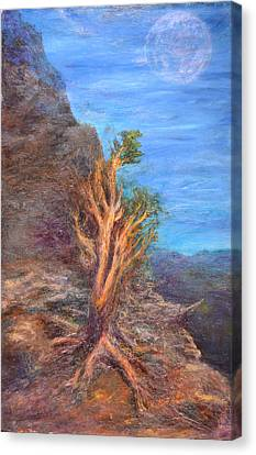 Mountain Tree With Moon Canvas Print by Walter Idema