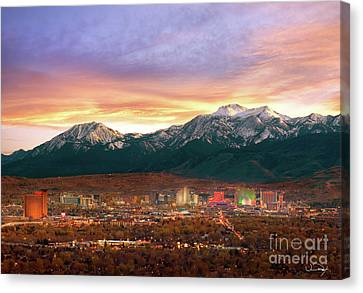 Slide Canvas Print - Mountain Twilight Of Reno Nevada by Vance Fox