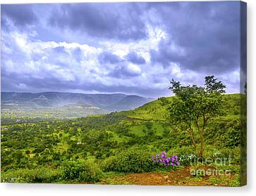 Canvas Print featuring the photograph Mountain View by Charuhas Images