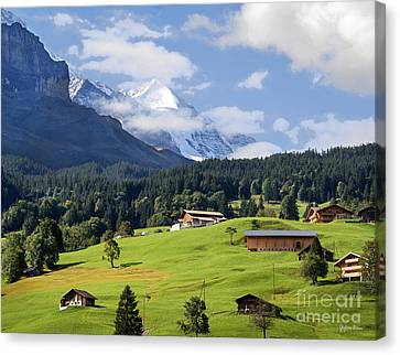 Mountain Village In The Swiss Alps Canvas Print by Yefim Bam