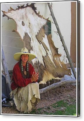 Santa Fe Cowgirl Canvas Print - Mountain Woman At Sunday Market In Santa Fe by Dora Sofia Caputo Photographic Design and Fine Art