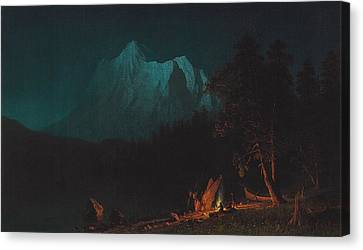 Mountainous Landscape By Moonlight Canvas Print