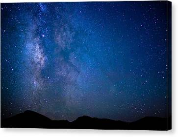 Mountains And Milky Way Canvas Print by Adam Pender