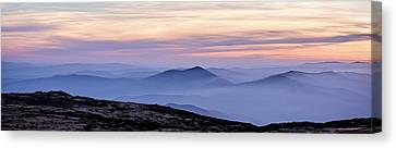 Mountains And Mist Canvas Print by Marion McCristall