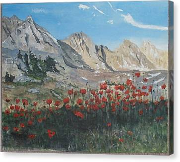 Canvas Print featuring the painting Mountains And Poppies by Betty-Anne McDonald