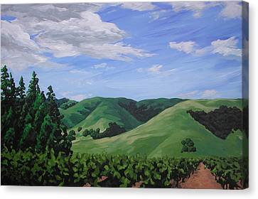 Mountains And  Vineyard Canvas Print