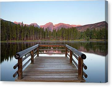 Mountains Behind Sprague Lake Canvas Print by Lightvision, LLC