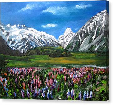 Mountains Landscape Acrylic  Painting Canvas Print by Natalja Picugina