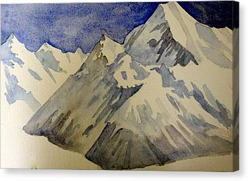 Canvas Print featuring the painting Mountains by Steven Holder