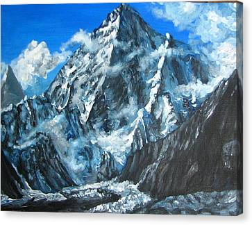 Mountains View Landscape Acrylic Painting Canvas Print by Natalja Picugina