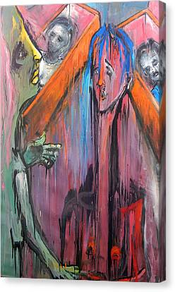 Canvas Print featuring the painting Mourners by Kenneth Agnello