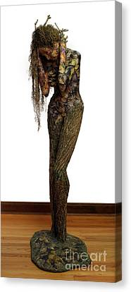 Red Leaf Canvas Print - Mourning Moss A Sculpture By Adam Long by Adam Long