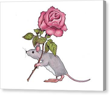 Mouse With Pink Rose Canvas Print by Joyce Geleynse