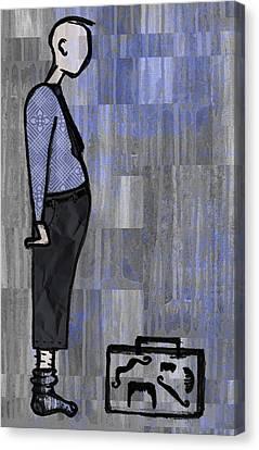 Moustache Salesman Canvas Print by Kelly Jade King