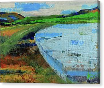 Canvas Print featuring the painting Mouth Of The Creek by Walter Fahmy