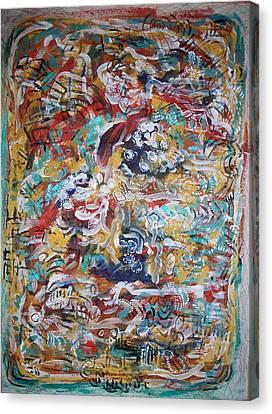 Movements In Love Canvas Print by Helene  Champaloux-Saraswati