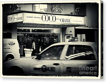Black And Yellow Canvas Print - Movie Theatre Paris In New York City by Sabine Jacobs