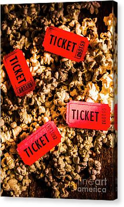 Movie Tickets On Scattered Popcorn Canvas Print by Jorgo Photography - Wall Art Gallery