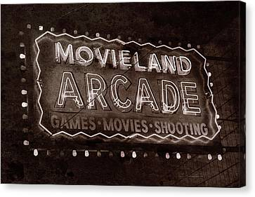 Canvas Print featuring the photograph Movieland Arcade - Gritty by Stephen Stookey
