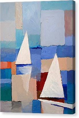 Abstract Sailboats Canvas Print by Lutz Baar