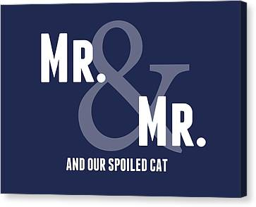 Mr And Mr And Cat Canvas Print by Linda Woods