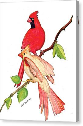 Canvas Print featuring the painting Mr. And Mrs. Cardinal by Anne Beverley-Stamps