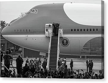 Mr And Mrs Obama Waving On Air Force One Waving Goodbye After Leaving Office Canvas Print by Valentina Lopez
