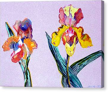 Mr. And Mrs. Yellow Iris Canvas Print by Mindy Newman