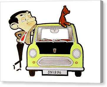 Mr. Bean Drawing Canvas Print
