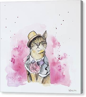 Mr Cat In Costume Canvas Print by Venie Tee