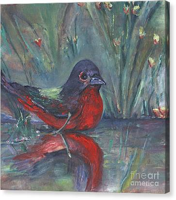 Canvas Print featuring the painting Mr. Finch by Helena Bebirian