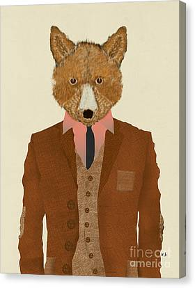 Canvas Print featuring the painting Mr Fox by Bri B