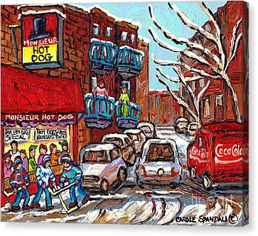 Mr Hot Dog Restaurant Montreal Memories Hockey Game Winter Street Scene Canadian Art Carole Spandau  Canvas Print
