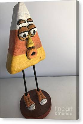 Canvas Print featuring the sculpture Mr Korny by Vickie Scarlett-Fisher