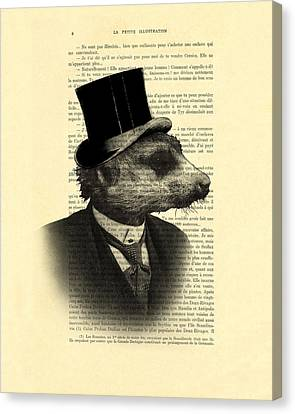 Meerkat Portrait In Black And White Canvas Print by Madame Memento